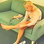 Stars and garters0. A good young blonde gets dressed in her best nylon from top to anus